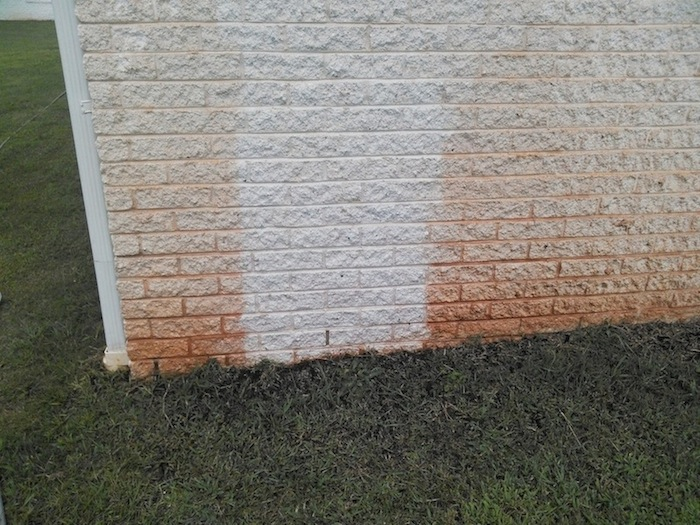 Red Clay Stain Remover on Foundation Wall