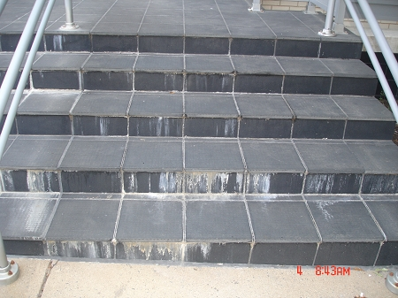 Efflorescence on Tile Stairs