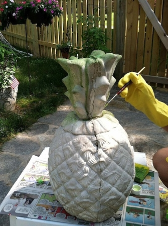 Applying Color to Concrete Statue using Trojan Color Sealer