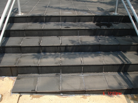Efflorescence on steps after