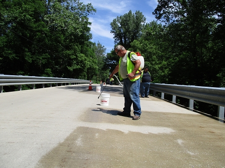 Sealing concrete bridge deck